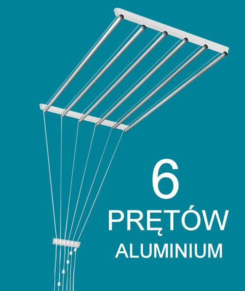Suszarka Sufitowa 6 Prętowa Aluminium ø16 Mm